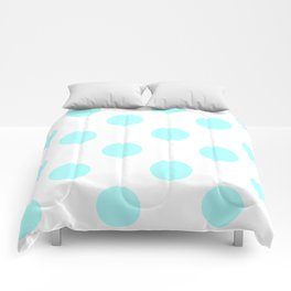 Large Polka Dots - Celeste Cyan on White Comforters