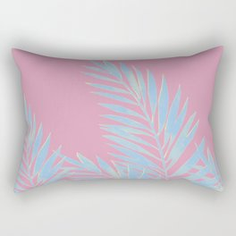 Palm Leaves Blue And Pink Rectangular Pillow