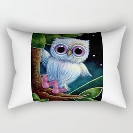 SPRING EASTER TINY BLUE OWL with BUNNY RABBIT SLIPPERS Rectangular Pillow