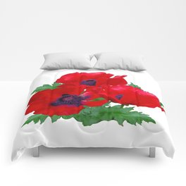 Red oriental poppies Comforters