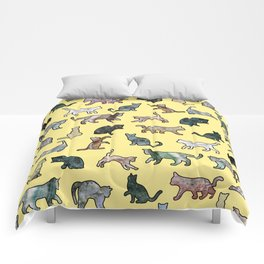 Cats shaped Marble - Sun Yellow Comforters