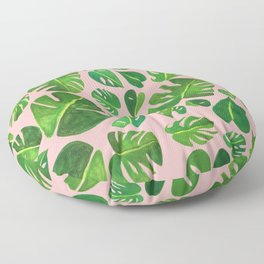 Monstera Tropical Leaves Green Plants Pink Gouache Painting Floor Pillow