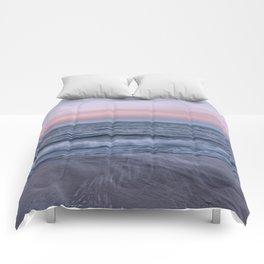 Pastel beach sunset Comforters