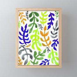 Matisse Inspired Watercolor Pattern (Purple, Tan, Green, and Gray) Framed Mini Art Print