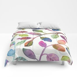 Colorful Leaves Watercolor Comforters