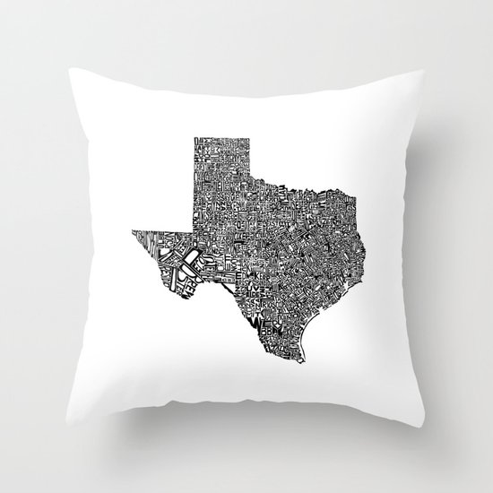 Typographic Texas Throw Pillow