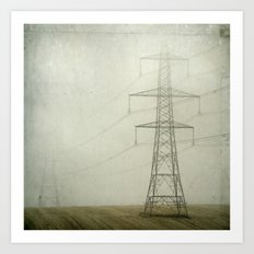 Pylons in the Mist Art Print