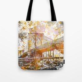 Brooklyn Bridge New York Mixed Media Art Tote Bag
