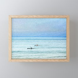 Seascape with kayaks watercolor Framed Mini Art Print