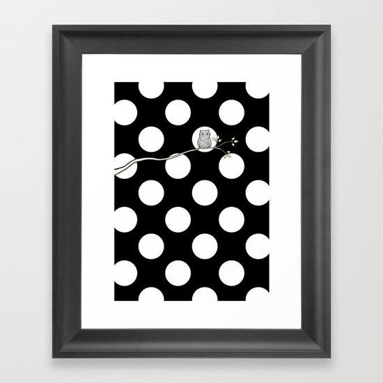 Out on a Limb - Polka Dot Owl Moon Framed Art Print