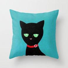 cat -Black cat Throw Pillow