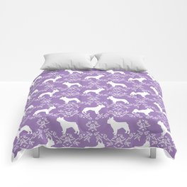 French Bulldog floral minimal purple and white pet silhouette frenchie pattern Comforters