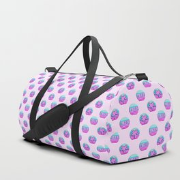 """Vaporwave pattern with palms and words """"yikes"""" #2 Duffle Bag"""