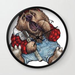Sleepy LumberJack Bear Wall Clock
