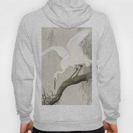 White Heron Sitting On A Tree Branch - Vintage Japanese Woodblock Print Art Hoody