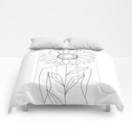 Minimalistic Line Art of Woman with Sunflower Comforters