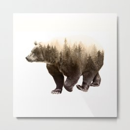 In It's Element - Brown Bear Double Exposure Art Print Metal Print