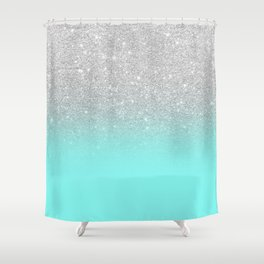 Modern girly faux silver glitter ombre teal ocean color bock Shower Curtain