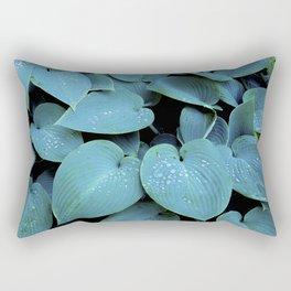 GREEN LEAVES WITH RAIN-DROPS Rectangular Pillow