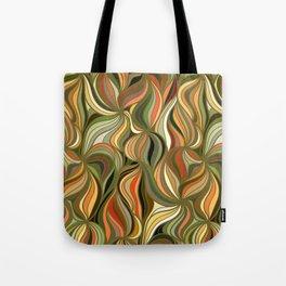 Boho Green & Red Wave Pattern Tote Bag