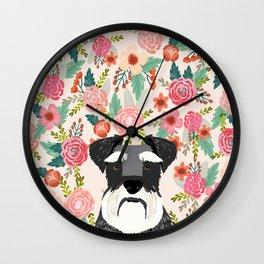 Schnauzer dog head floral background flower schnauzers pet portrait Wall Clock
