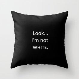 white: black Throw Pillow