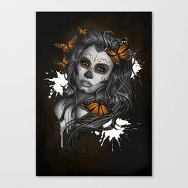 Sugar Skull Tattoo Girl with Butterflies Canvas Print