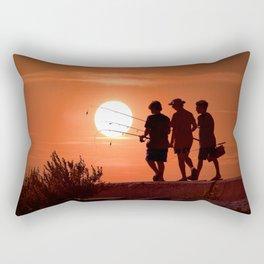 Three Boys Gone Fishing at Sunset Rectangular Pillow