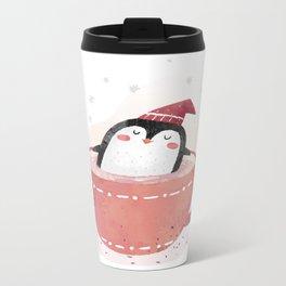 penguin in tea cup Metal Travel Mug