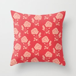 Romantic Pink on Red Roses Throw Pillow