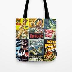 Vintage Sci-Fi Movie Poster Collage Tote Bag