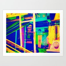 Industrial Abstract Blue Art Print