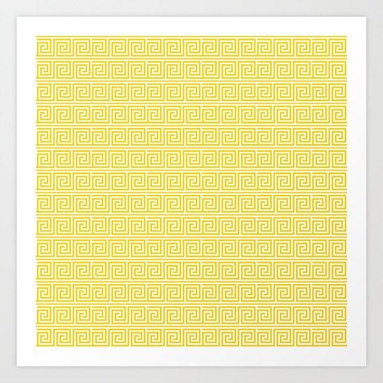 Lemon Yellow Greek Key Pattern  Art Print