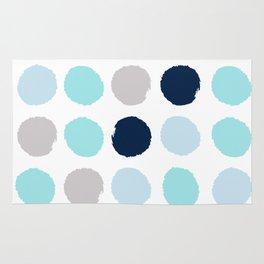 Minimal painted dot polkaed ot pattern blue navy indigo gender neutral nursery Rug
