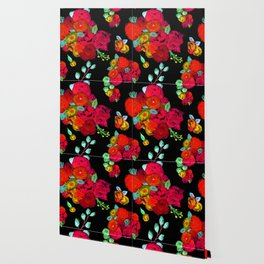 Watercolor Bouquet Floral in Black + Red Wallpaper