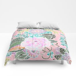 Blush pink lavender green white watercolor hand painted flowers Comforters