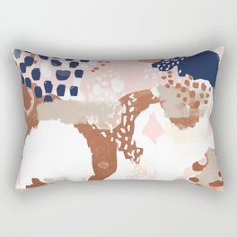 Sonia - rose gold navy copper modern abstract rosegold trendy pattern cell phone accessories Rectangular Pillow