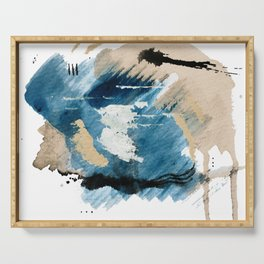 You are an Ocean - abstract India Ink & Acrylic in blue, gray, brown, black and white Serving Tray
