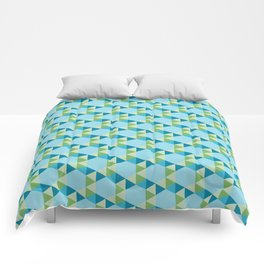 Retro Pattern Hexagons and Triangles Blue/Green Comforters