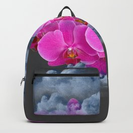 FUCHSIA ORCHIDS CLOUDY WEATHER GREY ART Backpack