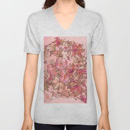 """Alphonse Mucha """"Printed textile design with hollyhocks in foreground"""" (edited red) Unisex V-Neck"""