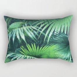 Tropical Botanic Jungle Garden Palm Leaf Green Rectangular Pillow