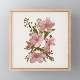 Blush Pink Watercolor Flowers Artwork Framed Mini Art Print