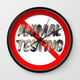 No Animal Testing Sign Wall Clock