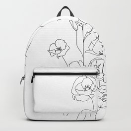 Poppy Flowers Line Art Backpack