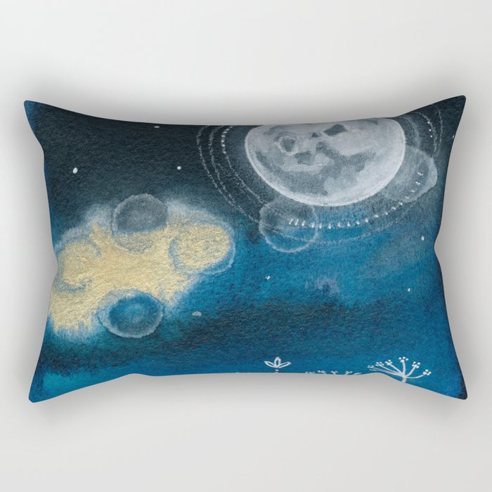 Moon Series #5 Watercolor + Ink Painting Rectangular Pillow
