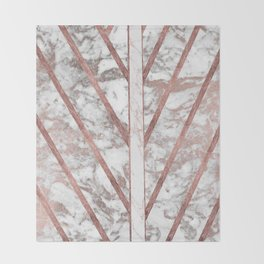 Modern faux rose gold white geometrical marble stripes Throw Blanket