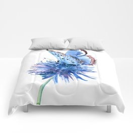 Blue Butterfly and Blue Flower, marine blue minimalist floral butterfly design Comforters