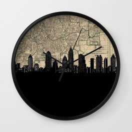 atlanta skyline sepia Wall Clock