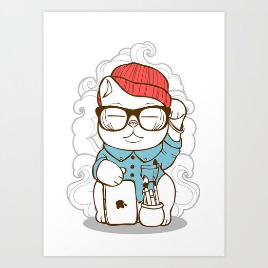 Hipster Kitty Art Print
